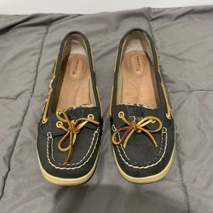 Sperry leopard & black boat shoes